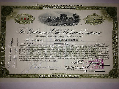 Baltimore & Ohio (B&O) Railroad Co authentic  issued stock certificate