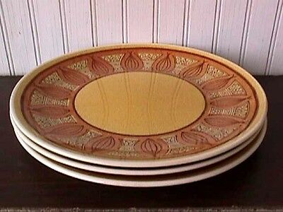 "**honey Gold (3) 10"" Dinner Plates Taylor Smith & Taylor Vingtage-Us6-F"