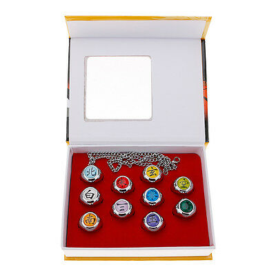 10Pcs Nanji Akatsuki Cosplay Member's Rings + Necklace Set Packed In One Box
