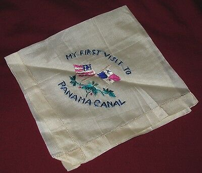 """Antique Silk """"My First Visit To Panama Canal"""" Embroidered Handkerchief"""