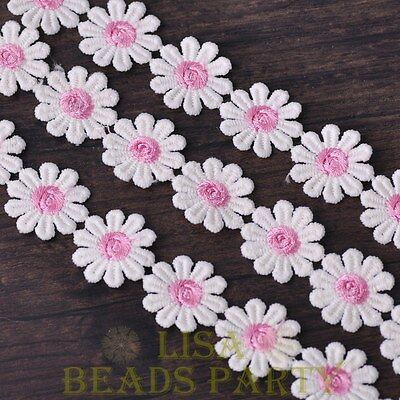 HOT 1 Yard 0.95'' Width Embroidered Lace Trim Applique DIY Crafts Light Pink