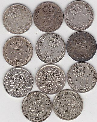 Eleven Silver Three Pence Coins Dated 1893 To 1943 In A Well Used Condition