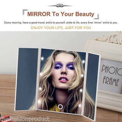 Adjustable Espejo de Maquillaje Portable Make-up Mirror 8 LEDs Pantalla Táctil