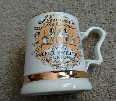 """Vintage Prince William Pottery : """"beer Swillers Union"""" Champion Tankard /"""