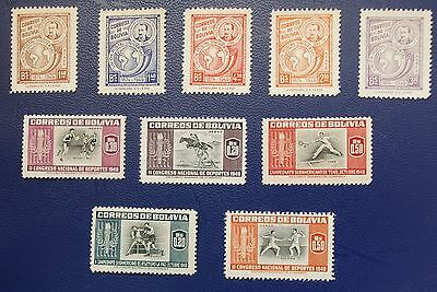 BOLIVIA - 1950-1952 Collection of MH Stamps