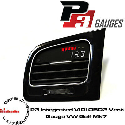 VW Volkswagen Golf Mk7 GTi - P3 Gauges Integrated VIDI OBD2 Inc Vent RHD Version