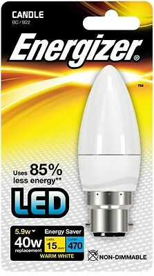 Energizer B22 Warm White Blister Pack Candle 5.9w