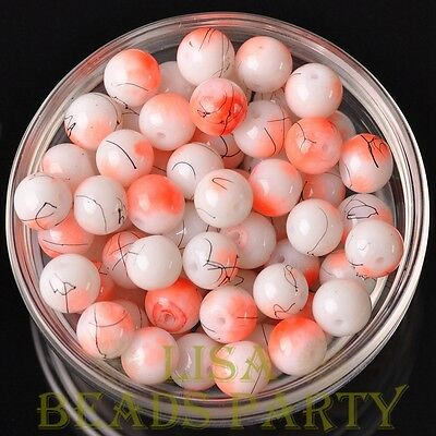 Hot 20pcs 10mm Round Loose Spacer Glass Beads Jewelry Making Orange Red