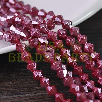 Hot 100pcs 4mm Bicone Gold Foil Faceted Glass Loose Spacer Beads Deep Red