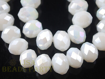 50pcs 4x6mm Faceted Rondelle Crystal Glass Loose Spacer Bead Porcelain White AB