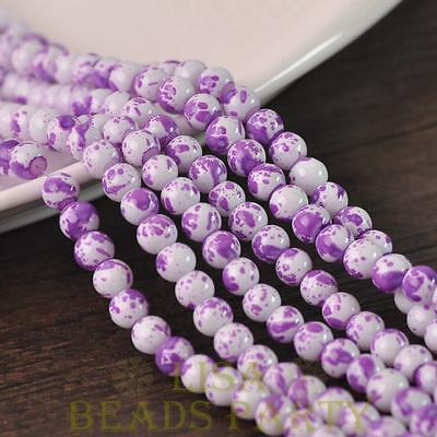 Hot 50pcs 6mm Lacquer Round Babysbreath Loose Spacer Glass Beads Light Purple