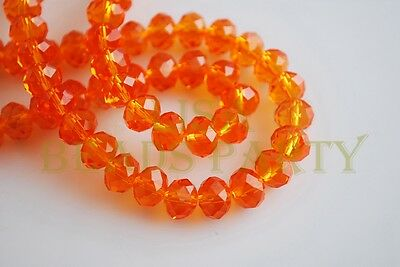 100pcs 3x4mm Faceted Rondelle Crystal Glass Loose Spacer Beads Orange Red Crafts