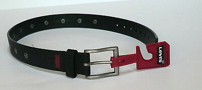 "Levis boys black belt small 22-24"" waist new faux leather"