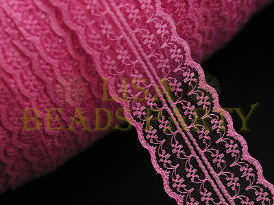 10yards 45mm Fabric Embroidered Lace Bilateral Trim Ribbon Craft Sewing PeachRed