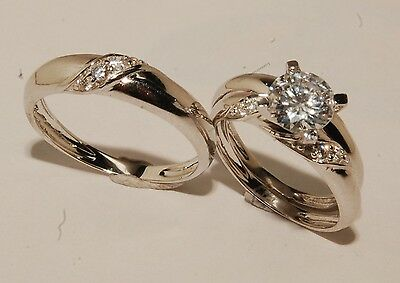 Solid 14K White Gold Trio Bridal Ring Wedding Engagement Set His & Hers Sz 7/10
