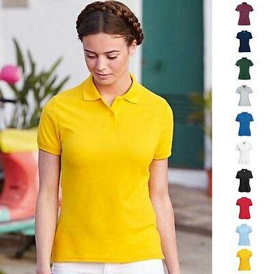 Fruit of the loom Damen Poloshirt Lady-Fit Polo 65/35 Shirt 10 Farben XS-XXL