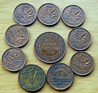 Collection Of 10 Canada Coins 1936-1943 George V & George VI Incl 2 x 5 Cents