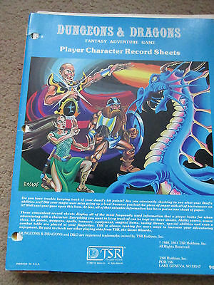 Tsr D&d Player Character Sheets Record 9037 Blue Cover Green Page Dungeon Dragon