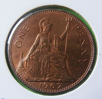 Elizabeth II One Penny Coin Minted 1967 - In Holder High Grade Luster - Lot#5209
