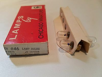 Box of 3 Chicago Miniature 46 CM46 GE46 Screw Base Lamps Light Bulbs 8V 0.25A