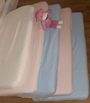 2 x Fitted Sheet Compatible With Snuzpod Bedside Crib -  100% Cotton pink & Blue