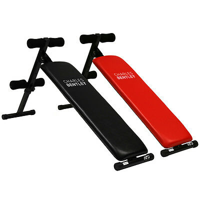 Charles Bentley Adjustable Foldable Exercise Abdominal Sit Up Bench  Black / Red