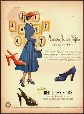 1945 Vintage ad for Red Cross Shoes/Great illustration lady on ad (121912)