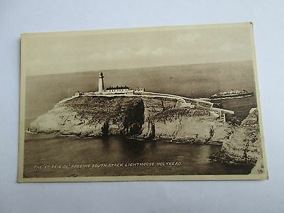 Postcard of The 'St Seirol' passing south stack lighthouse, Holyhead (unposted)