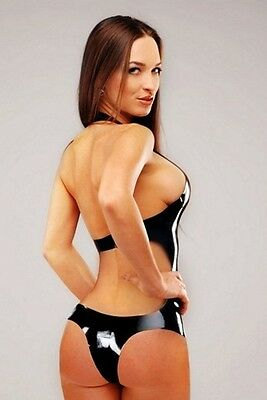 Rubber Latex Fetish Bondage Swimsuit 3150 Backless Erotic Sexy Catsuit Stockings