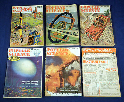 5 Vintage 1948 Popular Science Magazines 1948 January February March May October