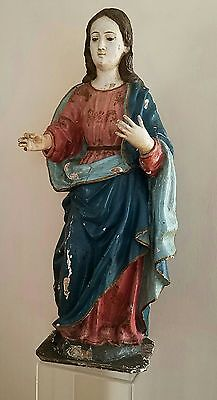Large Antique 19Th Century Carved Wood Religious Icon Santos Figure Statue Mary