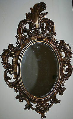 Small Vintage Rococo Wall Hanging Gold Gilt Mirror Baroque Style Plastic Italy