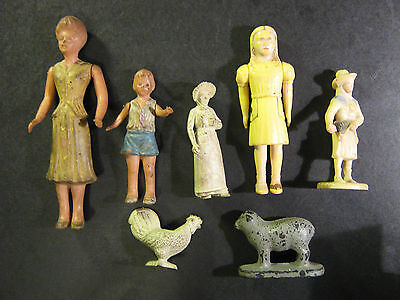 vtg Woman Lady & Child Doll Toy Posable figure figurines plastic Renwal rubber
