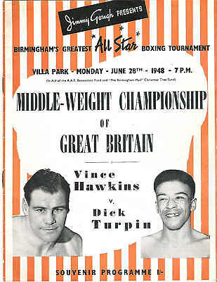 BOXING Vince Hawkins v Dick Turpin at ASTON VILLA 28th June 1948 PROGRAMME