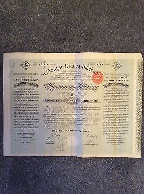 A Magyar Jelzalog Hilelbank A Units 100 KronenCoupons  INVALID SHARE CERTIFICATE
