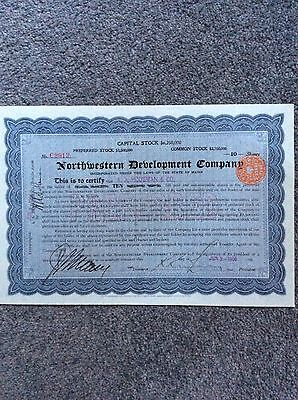 Northwestern Development Co Dated 1906 10 Pref Shares  INVALID SHARE CERTIFICATE