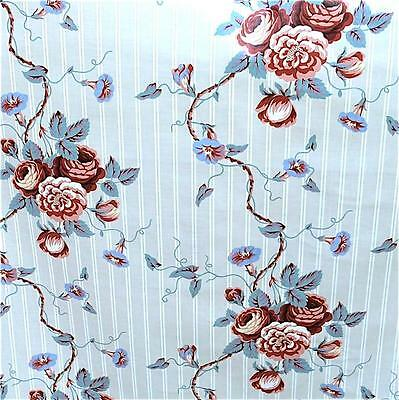 """Waverly Home Decor Cotton Fabric, Roses on Pale Gray, BTY, 56"""" W"""