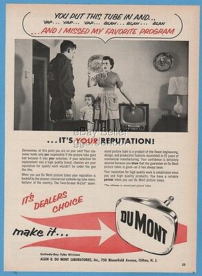 1956 Dumont TV Cathode Ray Picture Tube Television Repair Angry Housewife Ad