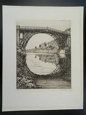 IRONBRIDGE 1934 Original etching signed in pencil by Leonard Russell Conway
