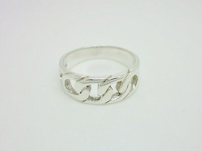 Gorgeous Vintage Sterling Silver Curb Chain Design Band Ring Size S 1/2