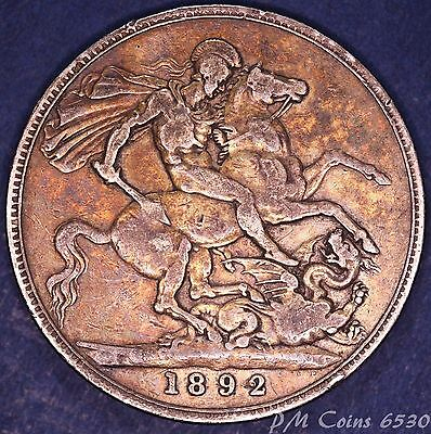 1892 Victoria Jubilee Head Silver 925, Nice Crown, 5 Shilling coin *[6530]