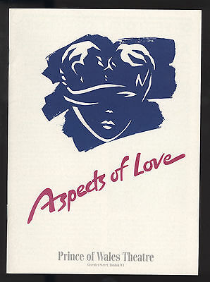 Aspects Of Love Prince Of Wales Theatre Playbill London Feb 1990 David Greer VF
