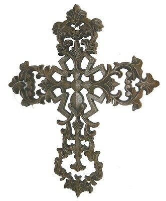 CAST IRON FLEUR DE LIS CROSS WALL HANGING Plaque Decorative Metal Wall Art NEW!