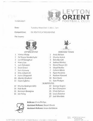 Leyton Orient v Dereham Town  2011 - 2012  FA Youth Cup