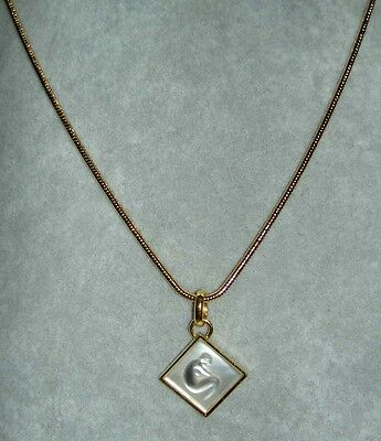 Rare LALIQUE Ondine Clear Crystal Nude Lady Gold-plated Pendant Necklace in Box