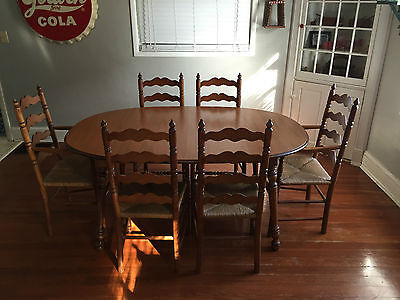 Tell City Dining Table w/ 6 Ladderback Chairs Andover Maple Caned Seat 2312 LOOK