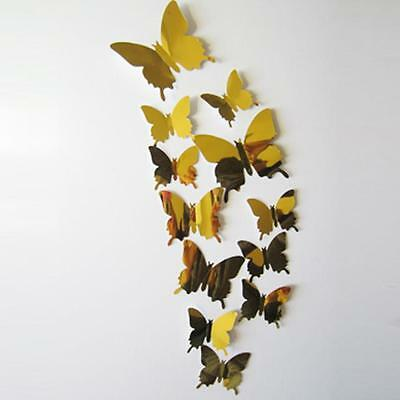 Wall Stickers Decal Butterflies 3D Mirror Wall Art PVC Home Decors Gold