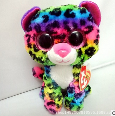"6"" Cute Colorful Cat TY Beanie Boos Plush Stuffed Toys Glitter Eyes"