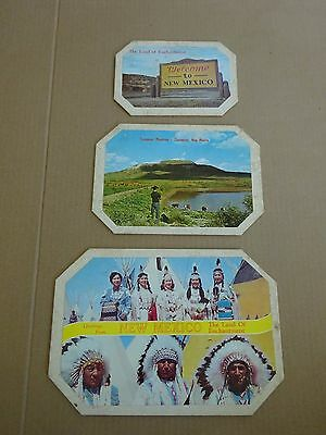 3 1950's Welcome to New Mexico Hard Mats, Land of Enchantment, Native Americans