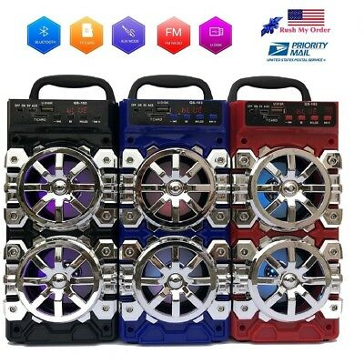 FM Bluetooth Speaker Portable Outdoor Wireless Speakers with USB/TF/Aux/Radio